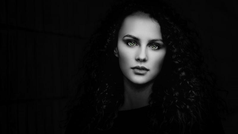 Woman, Beautiful, Portrait, Black background, Fair, Wallpaper