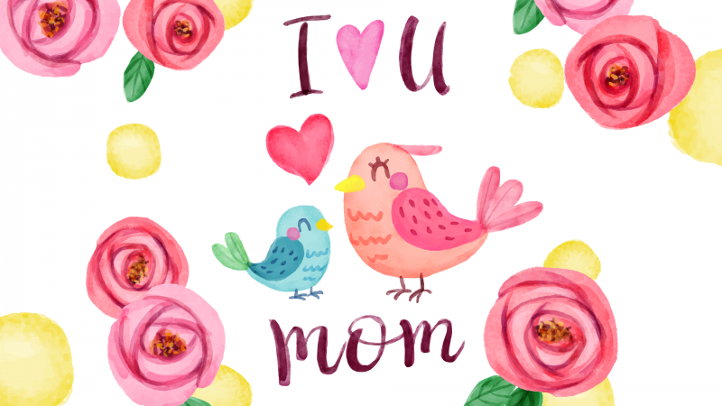 I Love You Mom, Happy Mother's Day, Illustration, Wallpaper