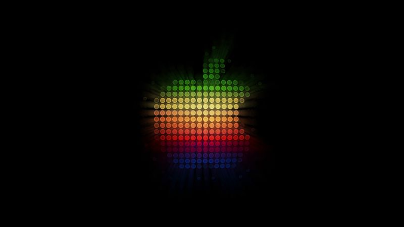 Apple logo, Colorful, Abstract, Black background, Wallpaper
