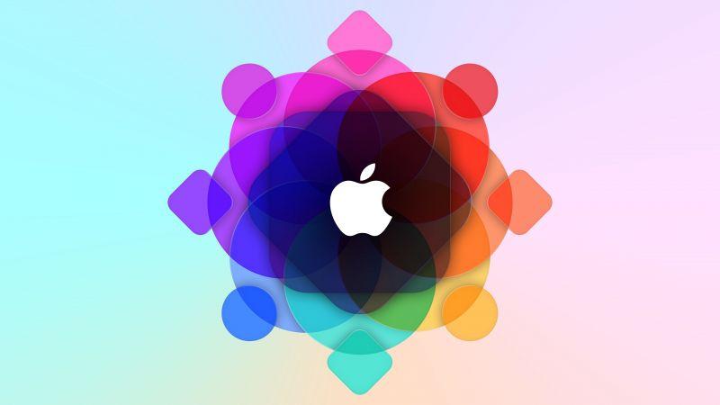 Apple logo, WWDC, Colorful, Gradient background, 5K, Wallpaper