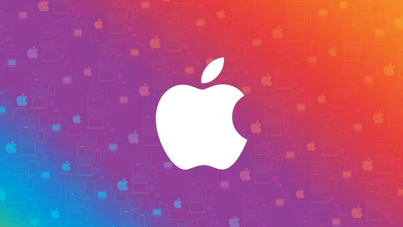 Apple logo, Colorful background, Gradient background, Abstract, Wallpaper