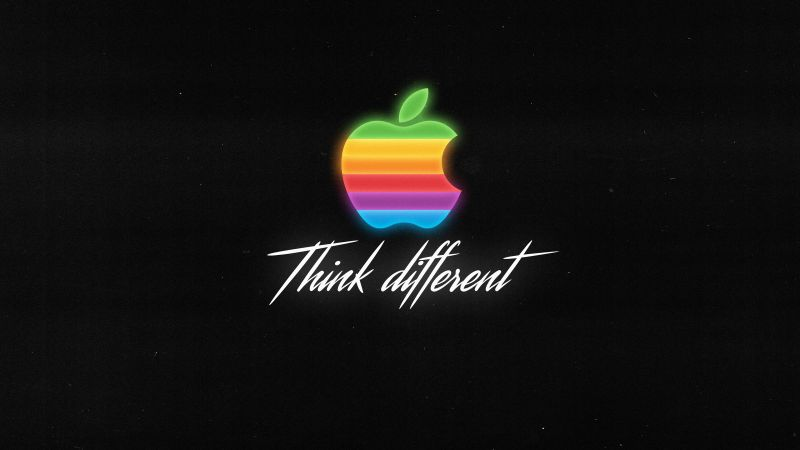 Apple logo, Colorful, Think different, Black background, Wallpaper