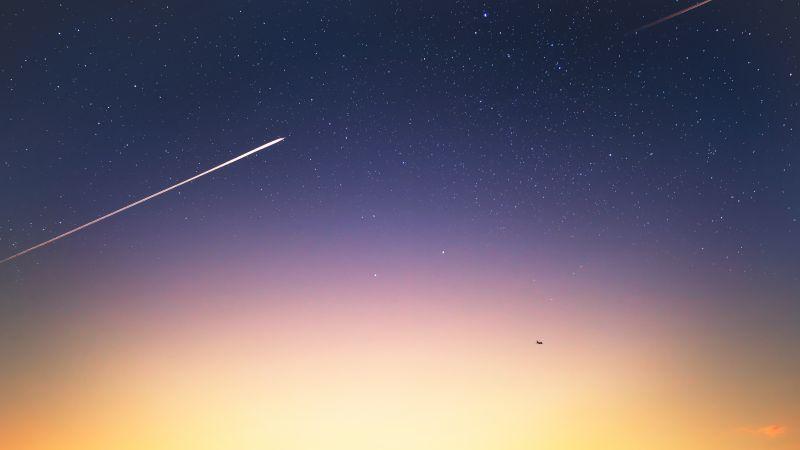 Starry sky, Sunlight, Sunset, Meteorite fall, 5K, Wallpaper