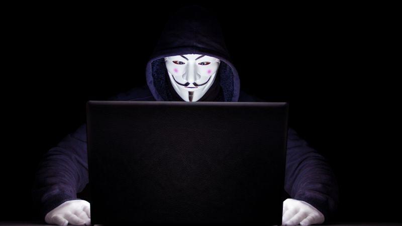 Anonymous, Hacker, Laptop, Black background, 5K, Wallpaper