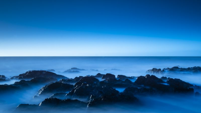 Seascape, Blue, Horizon, Clear sky, Ocean, Rocks, Sunrise, Dawn, Blue Sky, 5K, Wallpaper