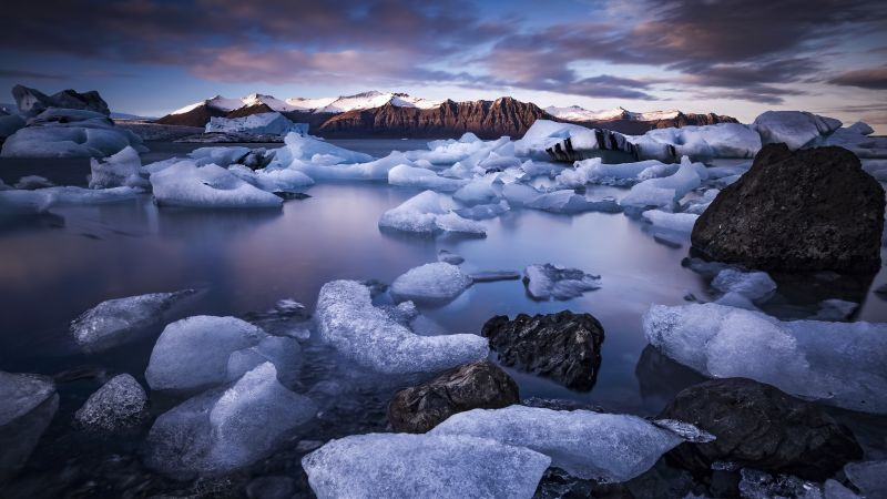 Jokulsarlon Glacier Lagoon, Iceland, Ice bergs, Mountains, Landscape, 5K, Wallpaper