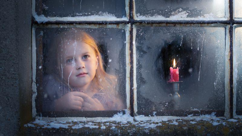 Cute Girl, Winter, Christmas, Snow, Window, Girly, 5K, Wallpaper