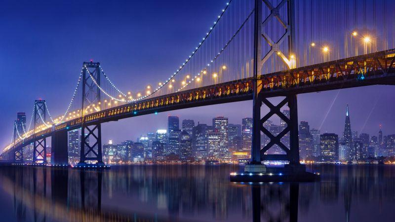Bay Bridge, San Francisco-Oakland Bay Bridge, Night, City lights, Urban, 5K, Wallpaper
