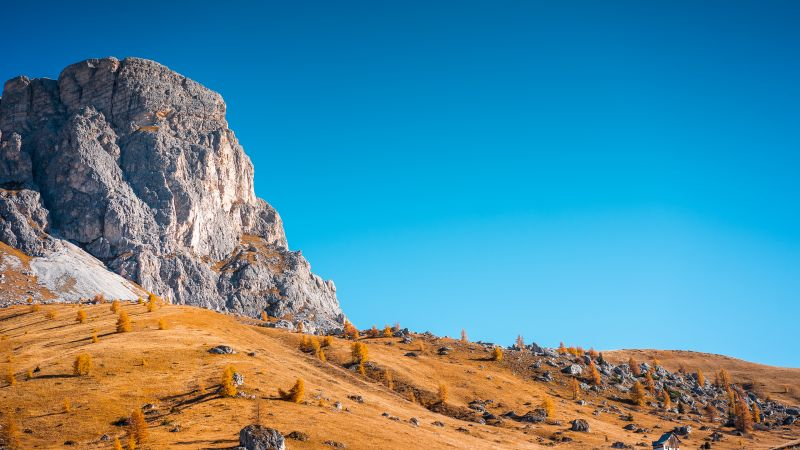 Cliff, Landscape, Autumn, Clear sky, Blue sky, Wallpaper