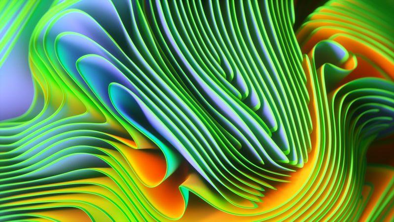 Twirls, Colorful, Spectrum, Green, Wallpaper
