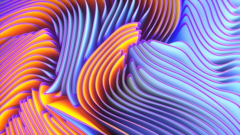 Twirls, Colorful, Spectrum, Blue, Wallpaper