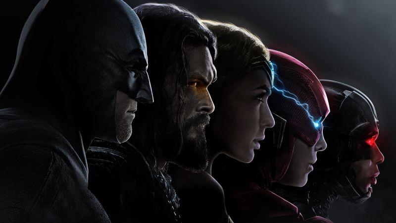 Justice League, Batman, Aquaman, Wonder Woman, The Flash, Cyborg, DC Comics, DC Superheroes, 5K, Wallpaper