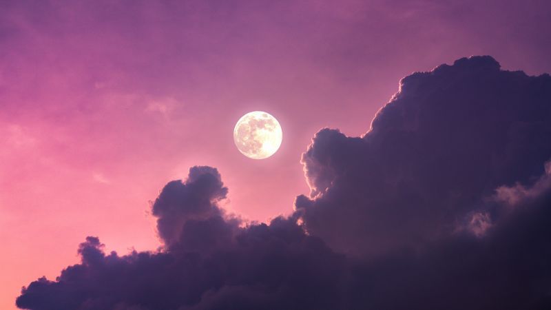 Full moon, Clouds, Pink sky, Scenic, Aesthetic, Wallpaper