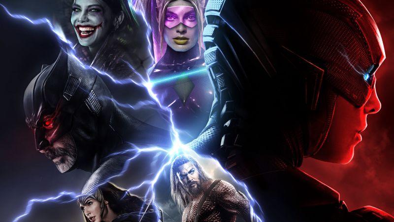 Flashpoint, Joker, Harley Quinn, Batman, The Flash, Aquaman, Wonder Woman, Justice League, DC Comics, Crossover, DC Superheroes, 5K, Wallpaper