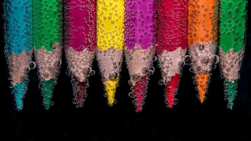 Pencils, Colorful, Underwater, Bubbles, Color pencils, 5K, Wallpaper