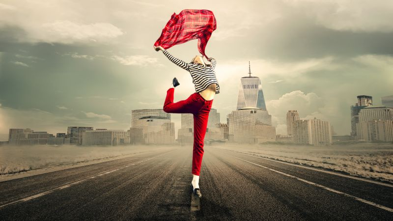 Girl, Dancing, Happiness, Tarmac, Joy, Mood, Red, 5K, Wallpaper