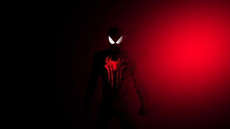 Spider-Man, Dark, Red, Minimal, Wallpaper