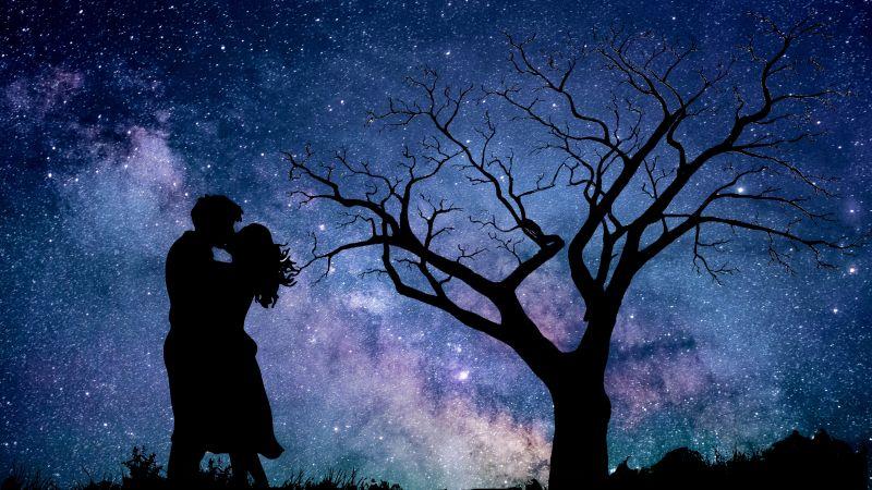 Couple, Night, Romantic kiss, Silhouette, Starry sky, 5K, Wallpaper