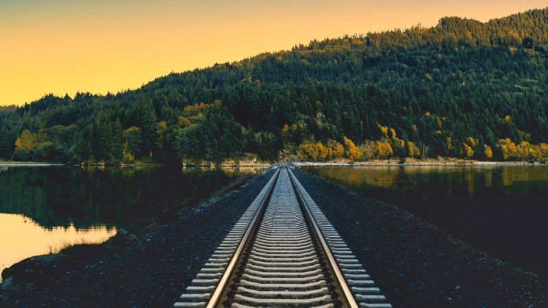 Railroad, Rail track, Mountain, River, Crescent Moon, Half moon, Landscape, Sunset, Aesthetic, Wallpaper