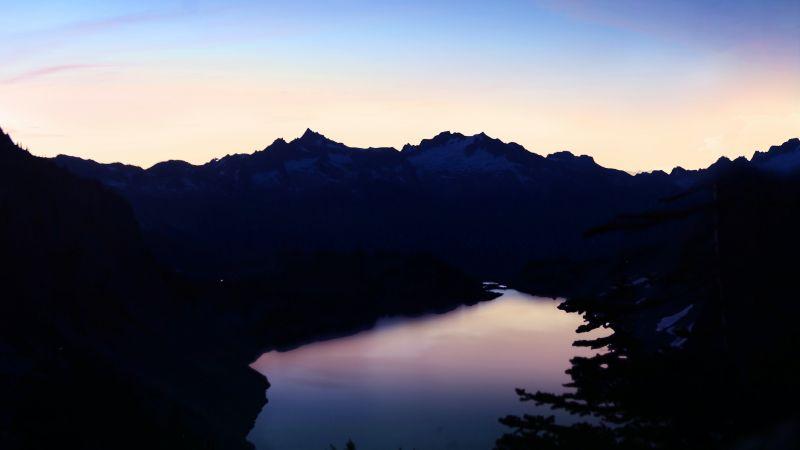 Hidden Lake, Mountains, Silhouette, Sunset, Crescent Moon, Clear sky, Dark, Night, Washington, USA, Wallpaper