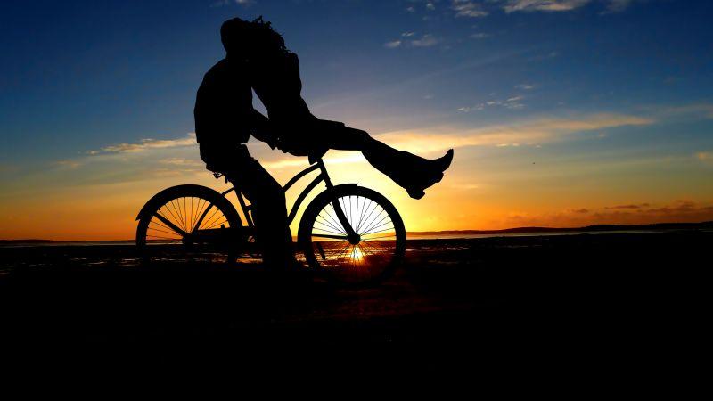Couple, Sunset, Romantic kiss, Bicycle, Silhouette, Dusk, Evening, Wallpaper
