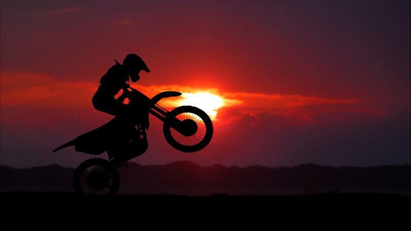 Motocross Motorcycle, Motorcycle stunt, Silhouette, Sunset, Wallpaper