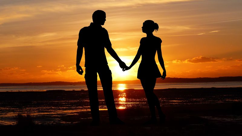 Couple, Beach, Romantic, Silhouette, Sunset, Seascape, Together, Wallpaper