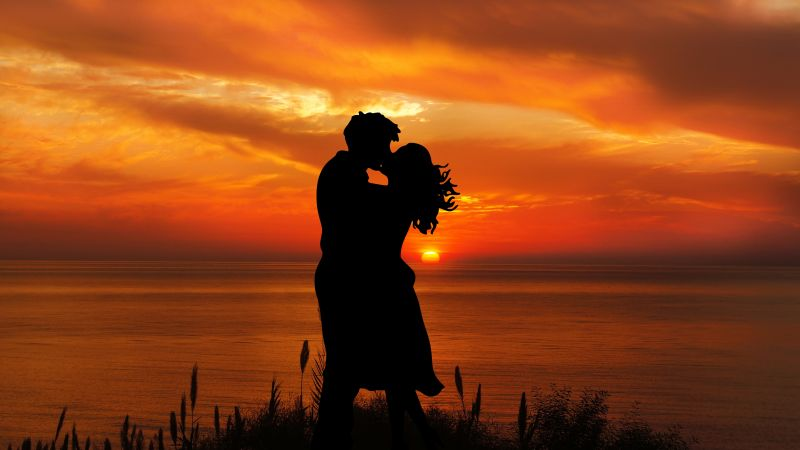 Couple, Romantic kiss, Silhouette, Sunset, Seascape, Together, Wallpaper
