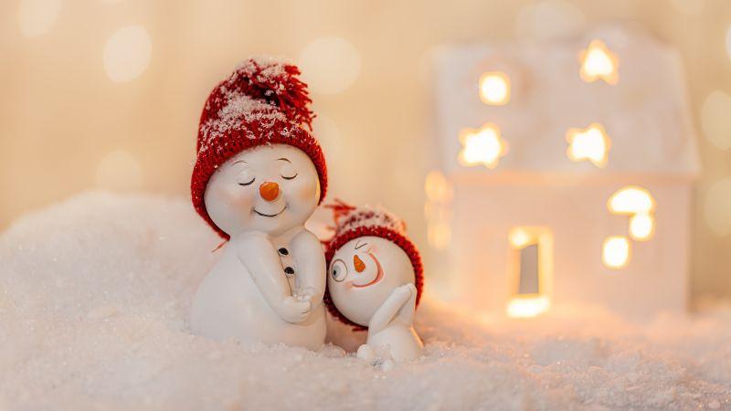 Snowmen, Decoration, Christmas Eve, Happy, Snow, Cute expressions, 5K, Wallpaper