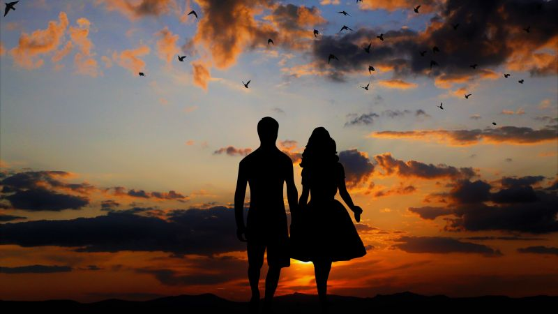 Couple, Silhouette, Sunset, Together, Dawn, Evening, Clouds, Wallpaper