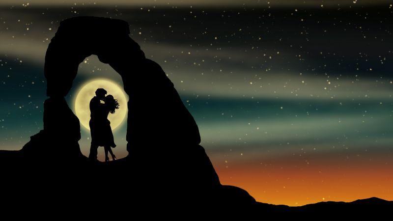 Couple, Lovers, Romantic, Silhouette, Moon, Kissing couple, 5K, Wallpaper