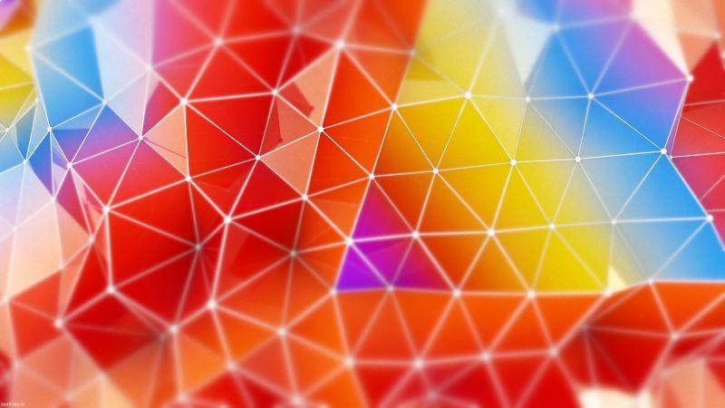 Colorful, Triangles, Geometric, Gradients, Multi color, Polygonal, Wallpaper
