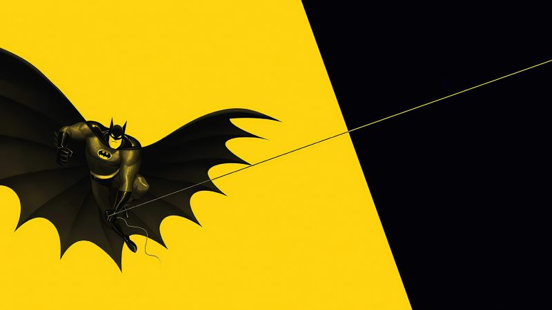 Batman, Minimal art, Yellow background, Black, DC Superheroes, Wallpaper