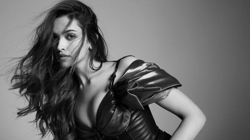Deepika Padukone, Monochrome, Bollywood actress, Indian actress, 5K, Wallpaper