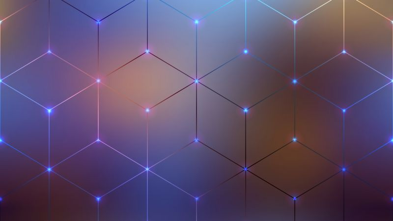 Polygons, Geometric, Blur background, Connected dots, Electromagnetic, Aesthetic, Wallpaper