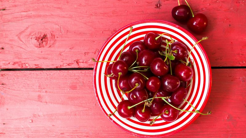 Cherries, Cherry fruits, Bowl of fruits, Wooden background, Wallpaper