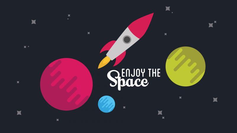 Spacecraft, Rocket, Planets, Stars, Astronomy, Wallpaper