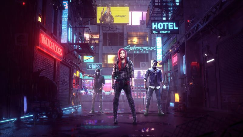 Cyberpunk 2077, Watch Dogs, Crossover, Aiden Pearce, Marcus Holloway, Female V, Wallpaper