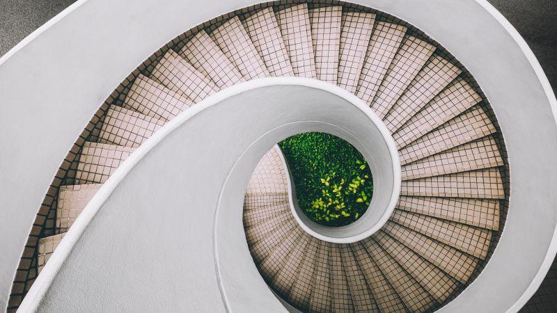 Spiral staircase, Modern architecture, White, Aesthetic, 5K, Wallpaper