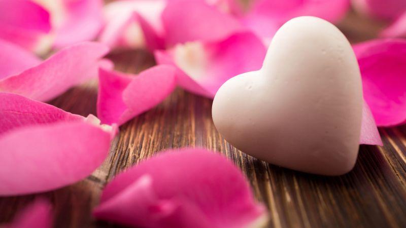 Love heart, White heart, Rose Petals, Wooden background, Closeup, Bokeh, Aesthetic, Wallpaper
