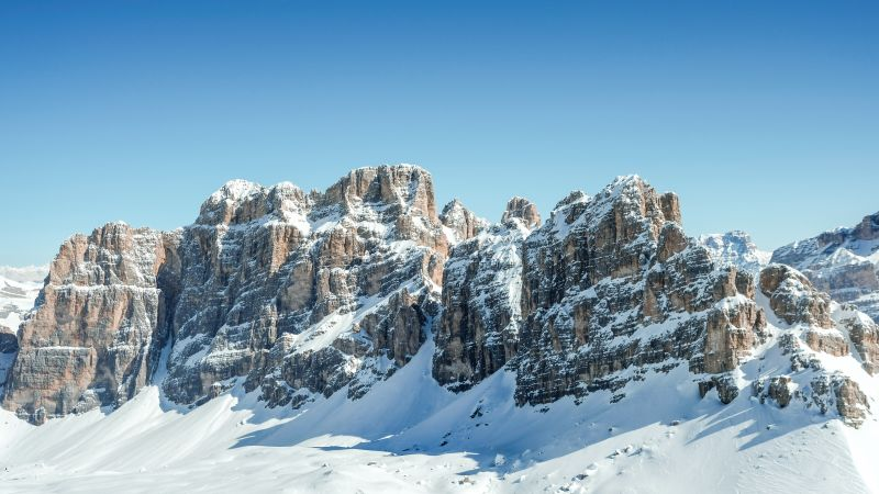 Dolomites, Clear sky, Mountain range, Sunny day, Winter, Snow covered, Mountains, Italy, 5K, Wallpaper