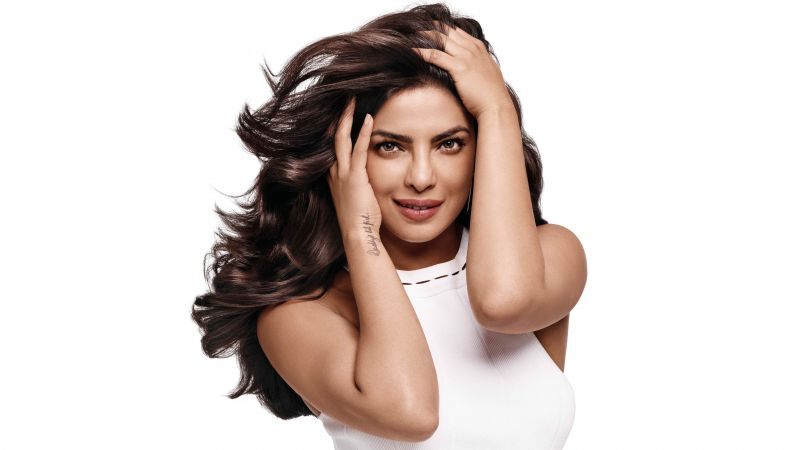 Priyanka Chopra, Bollywood actress, Indian actress, White background, Beautiful actress, 5K, 8K, Wallpaper