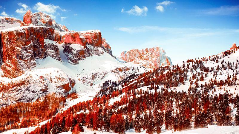 Dolomites, Mountain range, Sunny day, Winter, Snow covered, Mountains, Italy, 5K, Wallpaper