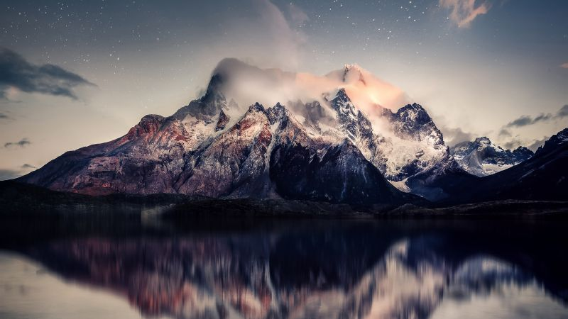 Mountains, Reflection, Starry sky, Cold, Lake, Dusk, Sunset, Tranquility, Foggy, 5K, Wallpaper