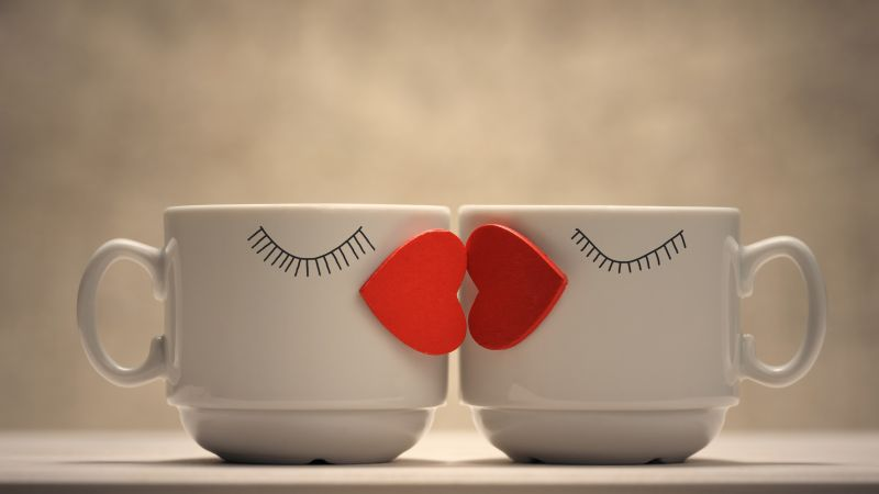 Coffee cups, Love hearts, Kissing hearts, Romantic, Cute, Coffee Mugs, Wallpaper