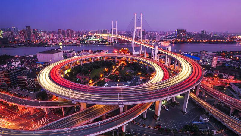 Nanpu Bridge, Modern architecture, Cityscape, Shanghai, City lights, Long exposure, Aesthetic, Wallpaper