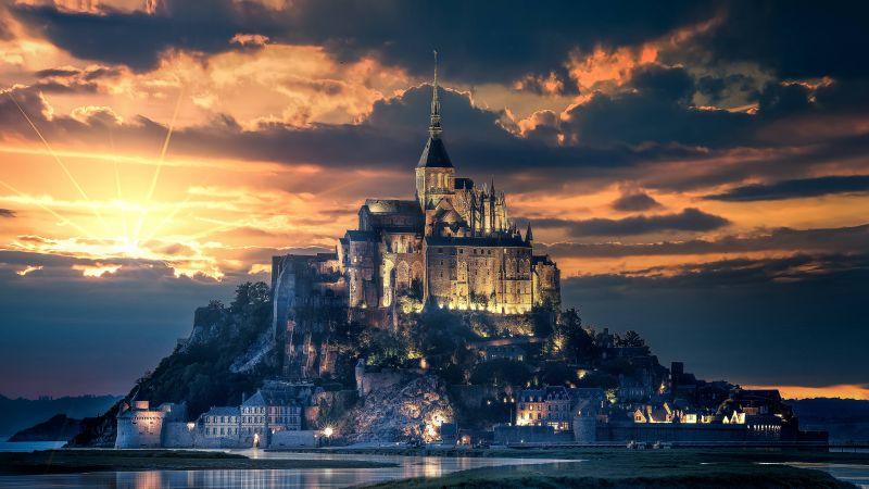 Mont Saint-Michel, Island, Ancient architecture, Reflection, Night, Sunset, Dawn, Evening sky, Normandy, France, 5K, Wallpaper