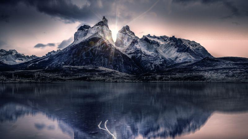Mountain, Sunlight, Lake, Reflection, Morning, Sunrise, Cold, 5K, Wallpaper