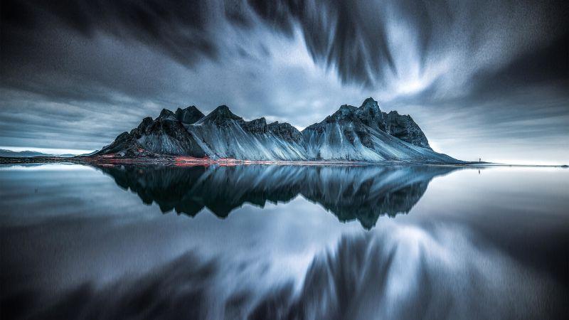 Vestrahorn mountain, Evening, Cold, Reflection, Iceland, Dark, Wallpaper