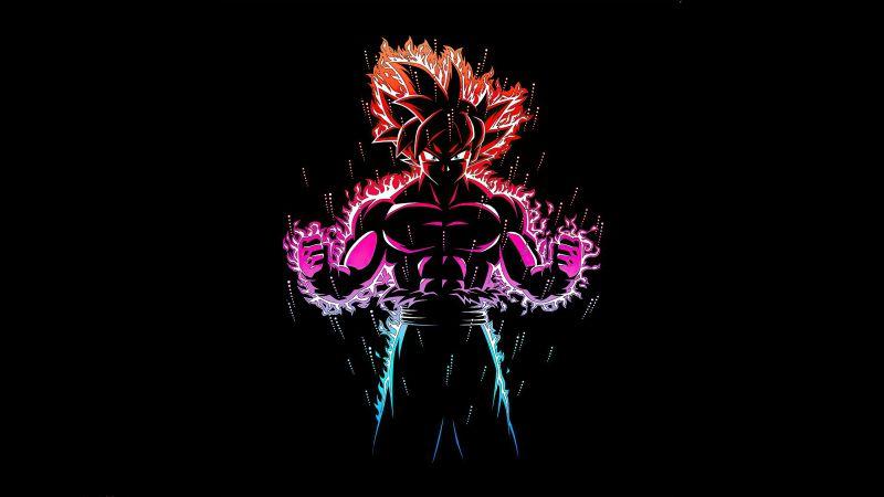 Ultra Instinct Goku, Black background, Dragon Ball Z, AMOLED, Wallpaper